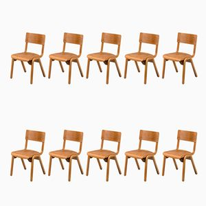 English Stackable School Chairs, 1950s, Set of 10