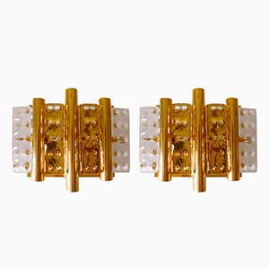 Brass & Glass Sconces by Hans-Agne Jakobsson for Orrefors, 1970s, Set of 2