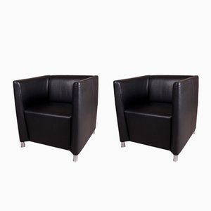Black Leather Tub Lounge Chairs from Walter Knoll, 2000s, Set of 2