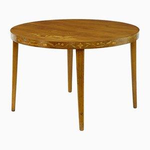 Tavolo di servizio Art Deco in betulla intagliata