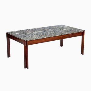 Danish Rosewood & Marble Coffee Table, 1970s