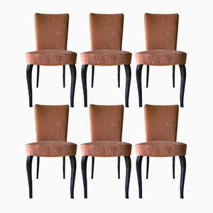 Italian Velvet Dining Chairs by Vittorio Dassi for Dassi Mobili Moderni, 1950s, Set of 6
