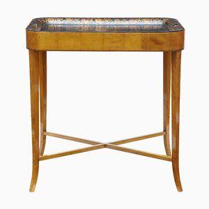 Tavolino con vassoio antico in betulla