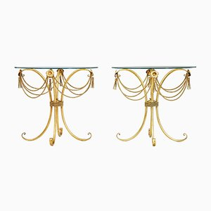 Gilt Occasional Tables with Glass Tops, 1960s, Set of 2
