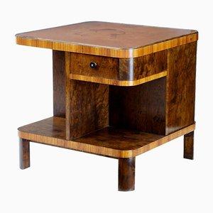 Tavolino Art Déco intarsiato in betulla