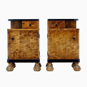 Art Deco Birch Nightstands, Set of 2