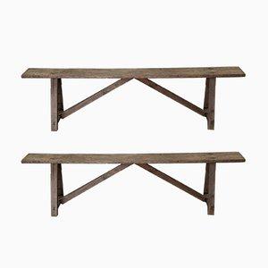 Antike Holzbänke, 2er Set