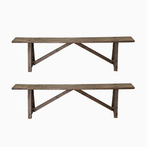 Antique Wooden Benches, Set of 2