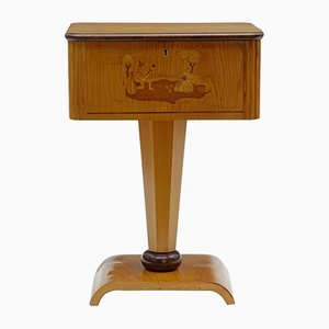 Art Deco Birch Inlaid Small Work Table, 1920s