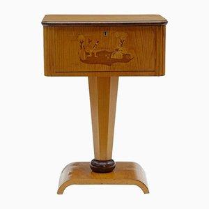 Kleiner Art Deco Arbeitstisch aus Birke mit Intarsie, 1920er