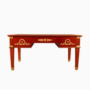 Schreibtisch aus Mahagoni & vergoldeter Bronze aus 19. Jh.