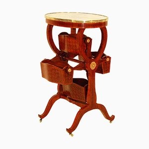 Table à Carrousel 19ème Siècle en Bronze Doré et Marqueterie