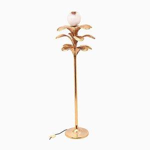 Lámpara de pie en forma de palmera de metal dorado y vidrio, años 70