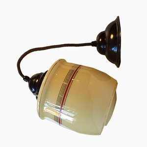 Lámpara colgante danesa vintage de vidrio opalino y baquelita