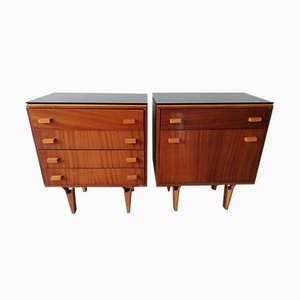 Mahogany Nightstands with Opaxit Glass by František Jirák for Novy Domov, 1970s, Set of 2