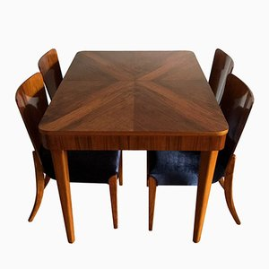 Walnut Dining Set by Jindřich Halabala for UP Závody, 1940s