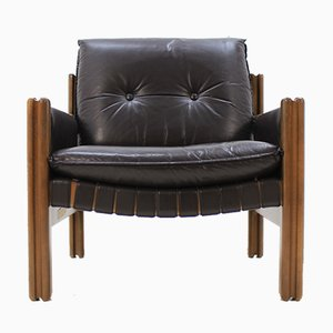 Mid-Century Black Leather Armchair, 1970s