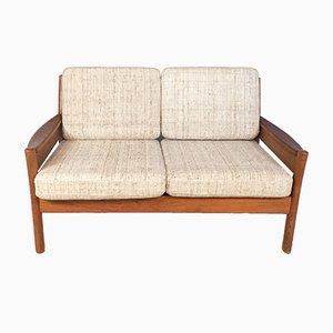 Sofá de dos plazas danés de lana y teca de Dyrlund, años 60