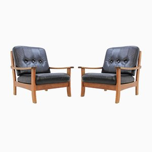 Scandinavian Black Leather Armchairs, 1960s, Set of 2