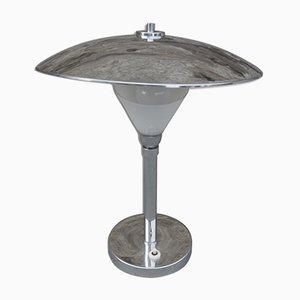 Lámpara de escritorio Bauhaus de metal cromado, años 30