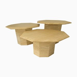 Tables d'Appoint Octogonales Vintage en Travertin, Set de 3