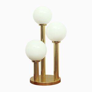 Opaline & Brass Table Lamp, 1970s