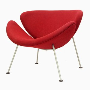 Dutch Model Orange Slice Lounge Chair in Red by Pierre Paulin for Artifort, 1960s