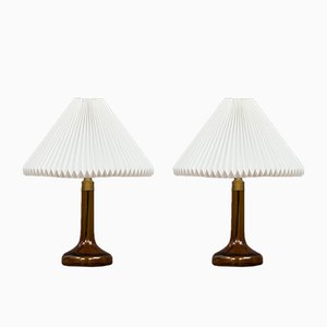 Table Lamps from Holmegaard with Shades from Le Klint, 1970s, Set of 2