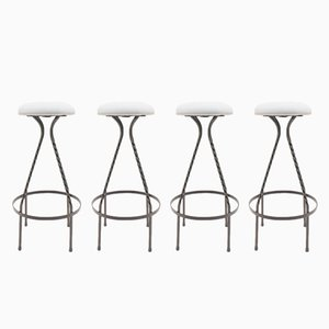 Mid-Century Iron Bar Stools, 1950s, Set of 4