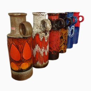 Lava Ceramic Vases with Handles from Scheurich, 1970s, Set of 6