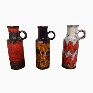 Jarrones Lava de cerámica con asas de Scheurich, años 70. Juego de 3
