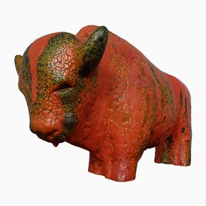 Büffel aus Vulkano Keramik von Kurt Tschörner für Ruscha, 1960er