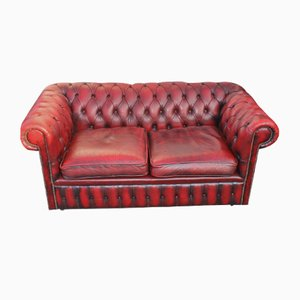 Oxblood Red Chesterfield Leather Sofa, 1960s