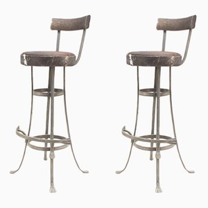 Taburetes de bar Mid-Century de hierro y cuero, años 60. Juego de 2