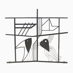 Grille pour Fenêtre en Fer Scandinave à Motifs Poisson et Bateau, 1950s