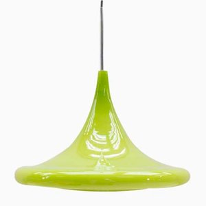 Apple Green Glass Tulip Hanging Lamp from Peill & Putzler, 1960s
