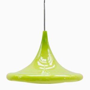 Lámpara colgante Tulip de vidrio verde manzana de Peill & Putzler, años 60