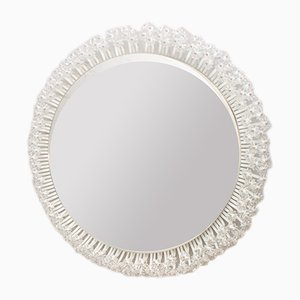 Round Illuminated Wall Mirror with Glass Flowers by Emil Stejnar for Rupert Nikoll, 1960s