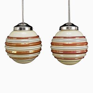 Art Deco Deckenlampen, 1950er, 2er Set