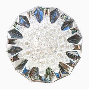 Aplique de pared o plafón de cromo y vidrio, años 60