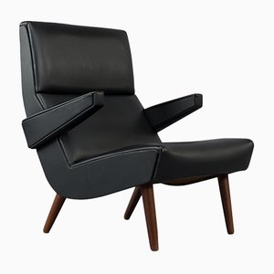 Danish Easy Chair in Black Leather, 1970s