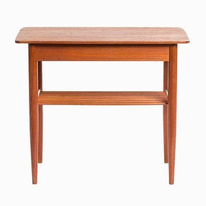 Vintage Danish Teak Side Table with Magazine Shelf and Drawer