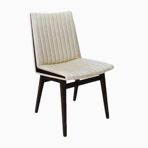 Silla Mid-Century moderna de cuero sintético y madera, años 50