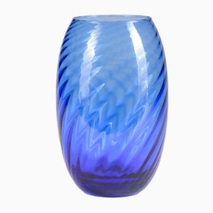 Blue Twisting Murano Glass Vase, 1970s