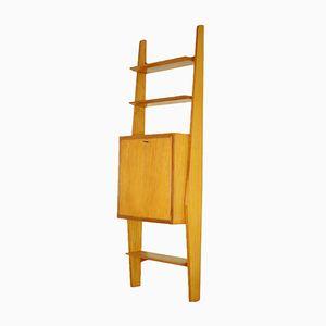 Vintage Italian Veneered Wood Wall-Mounted Bookcase