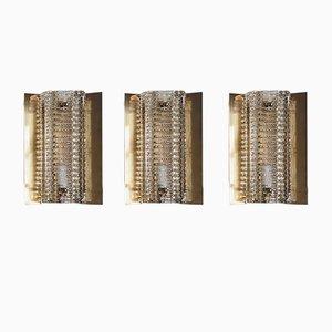Applique Modèle 15903 en Laiton avec Abat-Jours en Verre Épais de Vitrika, 1960s, Set of 3