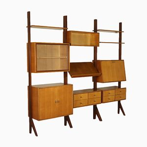 Italian Oak Veneered 3-Element Bookcase, 1960s