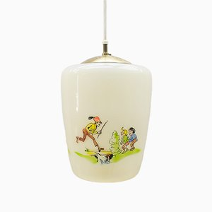 Glass Lamp with Handpainted Max & Moritz Motif, 1950s