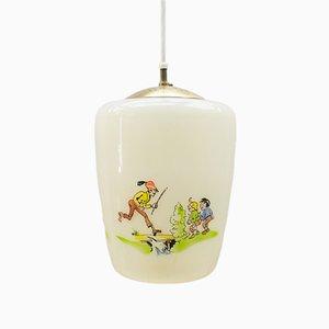Lámpara de vidrio con motivos pintados a mano de Max & Moritz, años 50