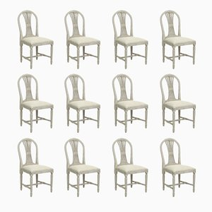 Antique Gustavian Carved Ax Chairs, Set of 12